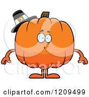 Cartoon Of A Surprised Pilgrim Pumpkin Mascot Royalty Free Vector Clipart by Cory Thoman
