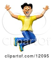 3d Happy And Energetic Man Jumping