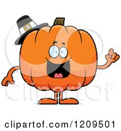 Cartoon Of A Smart Pilgrim Pumpkin Mascot Holding Up A Finger Royalty Free Vector Clipart by Cory Thoman