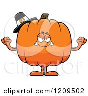Cartoon Of A Mad Pilgrim Pumpkin Mascot Holding Up Fists Royalty Free Vector Clipart by Cory Thoman