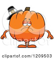 Cartoon Of A Depressed Pilgrim Pumpkin Mascot Royalty Free Vector Clipart by Cory Thoman