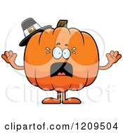Cartoon Of A Scared Pilgrim Pumpkin Mascot Screaming Royalty Free Vector Clipart by Cory Thoman