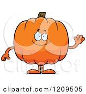 Cartoon Of A Friendly Pumpkin Mascot Waving Royalty Free Vector Clipart by Cory Thoman