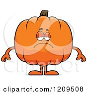 Cartoon Of A Depressed Pumpkin Mascot Royalty Free Vector Clipart by Cory Thoman