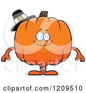 Cartoon Of A Happy Pilgrim Pumpkin Mascot Smiling Royalty Free Vector Clipart by Cory Thoman