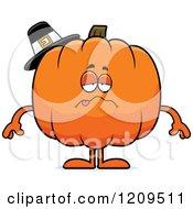 Cartoon Of A Sick Pilgrim Pumpkin Mascot Royalty Free Vector Clipart by Cory Thoman