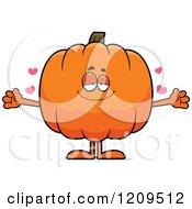 Cartoon Of A Loving Pumpkin Mascot Wanting A Hug Royalty Free Vector Clipart by Cory Thoman
