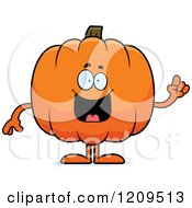 Cartoon Of A Smart Pumpkin Mascot Holding Up A Finger Royalty Free Vector Clipart by Cory Thoman