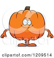 Cartoon Of A Happy Pumpkin Mascot Smiling Royalty Free Vector Clipart