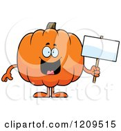 Cartoon Of A Happy Pumpkin Mascot Holding A Sign Royalty Free Vector Clipart by Cory Thoman