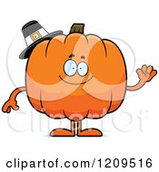 Cartoon Of A Friendly Pilgrim Pumpkin Mascot Waving Royalty Free Vector Clipart by Cory Thoman