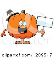 Cartoon Of A Happy Pilgrim Pumpkin Mascot Holding A Sign Royalty Free Vector Clipart by Cory Thoman