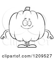 Cartoon Of A Black And White Happy Pumpkin Mascot Smiling Royalty Free Vector Clipart