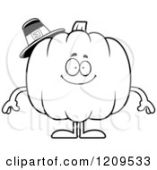 Cartoon Of A Black And White Happy Pilgrim Pumpkin Mascot Smiling Royalty Free Vector Clipart