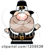 Cartoon Of A Friendly Waving Male Pilgrim Man Royalty Free Vector Clipart