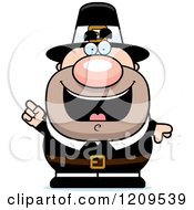 Cartoon Of A Smart Male Pilgrim Man With An Idea Royalty Free Vector Clipart