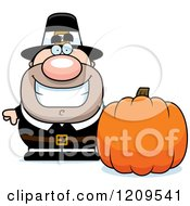 Cartoon Of A Happy Male Pilgrim Man With A Pumpkin Royalty Free Vector Clipart by Cory Thoman