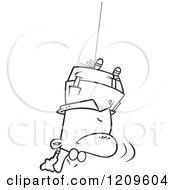 Cartoon Of A Black And White Upside Down Man Swinging Topsy Turvy Royalty Free Vector Clipart