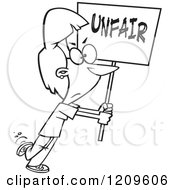 Cartoon Of A Black And White Picketing Woman Carrying An Unfair Sign Royalty Free Vector Clipart