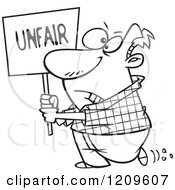 Cartoon Of A Black And White Picketing Man Carrying An Unfair Sign Royalty Free Vector Clipart