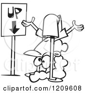 Cartoon Of A Black And White Confused Woman Contorting Her Body By An Up Down Sign Royalty Free Vector Clipart by toonaday