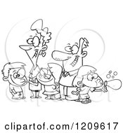 Cartoon Of A Black And White Happy Family Of Five Royalty Free Vector Clipart by toonaday
