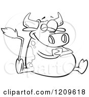 Cartoon Of A Black And White Happy Fat Cow Sitting Royalty Free Vector Clipart by toonaday