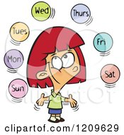 Cartoon Of A Happy Red Haired White Girl Learning The Days Of The Week Royalty Free Vector Clipart