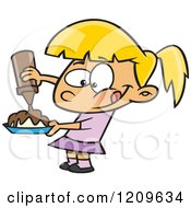Cartoon Of A Hungry Blond Girl Pouring Chocolate Syrup On Her Food Royalty Free Vector Clipart