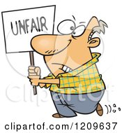 Cartoon Of A Picketing Caucasian Man Carrying An Unfair Sign Royalty Free Vector Clipart