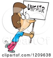 Cartoon Of A Picketing Caucasian Woman Carrying An Unfair Sign Royalty Free Vector Clipart