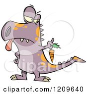 Cartoon Of A Disgusted Dinosaur Holding Out A Carrot Royalty Free Vector Clipart by toonaday