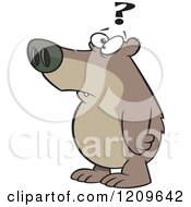 Cartoon Of A Confused Bear With A Question Mark Royalty Free Vector Clipart