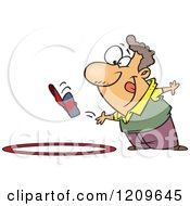 Cartoon Of A Competitive Caucasian Man Tossing His Hat Into A Ring Royalty Free Vector Clipart