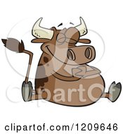 Cartoon Of A Happy Fat Brown Cow Sitting Royalty Free Vector Clipart