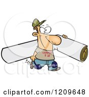 Cartoon Of A Happy Caucasian Carpet Layer Man Carrying A Rolled Piece Royalty Free Vector Clipart by toonaday