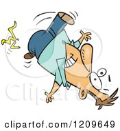Cartoon Of A Caucasian Man Slipping On A Banana Peel Royalty Free Vector Clipart