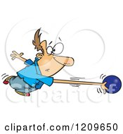 Cartoon Of A Caucasian Mans Arm Stretching And Going With A Bowling Ball Royalty Free Vector Clipart by toonaday