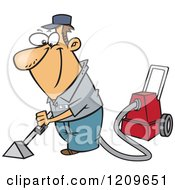 Cartoon Of A Happy Caucasian Man Cleaning Carpets Royalty Free Vector Clipart by toonaday