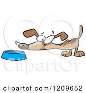 Cartoon Of A Dog Sniffing Food In A Bowl Royalty Free Vector Clipart