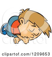 Cartoon Of A Sleeping Boy Sucking His Thumb Royalty Free Vector Clipart by toonaday