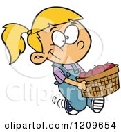 Cartoon Of A Happy Blond White Girl Carrying A Bushel Of Apples Royalty Free Vector Clipart