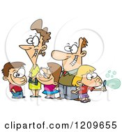 Cartoon Of A Happy Caucasian Family Of Five Royalty Free Vector Clipart by toonaday
