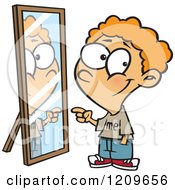Cartoon Of A Happy Boy Pointing To His Reflection In The Mirror Royalty Free Vector Clipart
