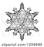 Clipart Of A Black And White Ornate Arabic Middle Eastern Floral Motif Royalty Free Vector Illustration by AtStockIllustration