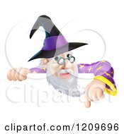 Cartoon Of A Happy Gray Bearded Wizard With Glasses Pointing Down At A Sign Royalty Free Vector Clipart