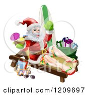 Cartoon Of A Relaxing Santa Holding A Cocktail And Waving With Vacation Items Royalty Free Vector Clipart