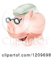 Cartoon Of A Pension Piggy Bank With Glasses And A Green Hat Royalty Free Vector Clipart