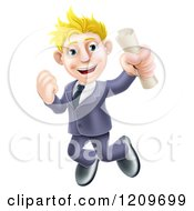 Cartoon Of A Happy Blond Graduate Business Man Jumping And Holding A Diploma Royalty Free Vector Clipart