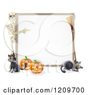Cartoon Of A Skeleton Pointing To A Halloween Sign With Black Cats A Broomstick And Pumpkins Royalty Free Vector Clipart
